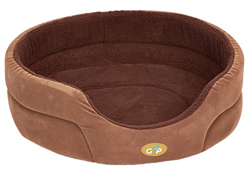 Gor Pets Washable Dog Bed Stylish Comfortable Removable Base - 18-inch (Beige Paws Fleece) 1