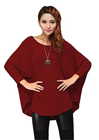 Stylish Ladies Loose Batwing Crew Neck Quality Knitted Top / Jumper One Size fit UK size 8 - 16, XL/18-22, XXL/ 24-26 (Russet Red / XL / 18-22)