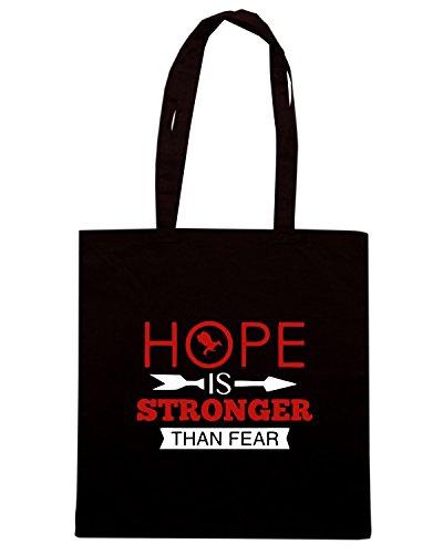 T-Shirtshock - Borsa Shopping OLDENG00525 hope is stronger than fear Nero