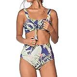 Muium Damen V-Ausschnitt Sexy Sommer Print Split Badeanzug Bikini Basic Swimsuit BlauM