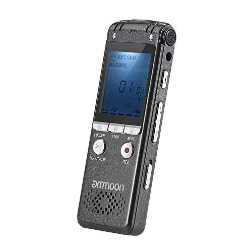 ammoon wiederaufladbare Digital-Audio-Sound-Voice Recorder MP3-Player 16 GB Speicher Doppel Mikrofon Eingebaute Batterie-Lautsprecher mit Kopfhörer USB-Kabel