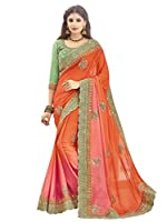 This Product has Shangrila Orange Colour Georgette Embrodered Saree With Blouse Piece, Saree Length 5.5 Meter And Blouse Piece 0.80 Meter.