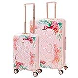 Aerolite Leichtgewicht Polykarbonat Hartschale 4 Rollen Gepäckset Reisegepäck Trolley Koffer, 2 teiliges Set, 55cm Handgepäck + 79cm, Rosa Blumendesign
