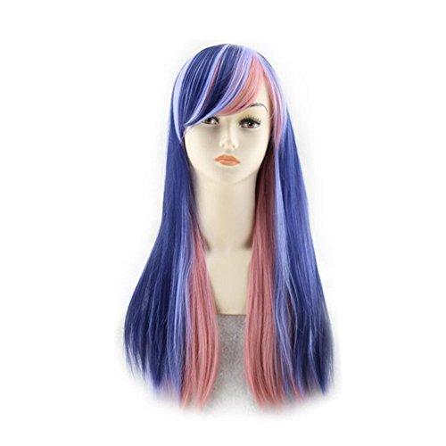 Beatayang Fashion Perruque Postiche européennes Cosplay /Les cheveux raides cheveux longues Bleu&Pink