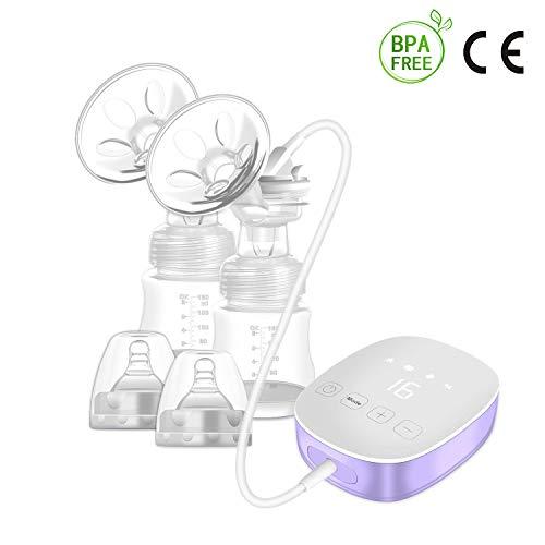 Baobe Tiralatte elettrico pompa per messaggi al seno in silicone 16 livelli e funzione memoria Tiralatte doppio con cavo regolabile per aspirazione e pompaggio USB display LCD touch screen