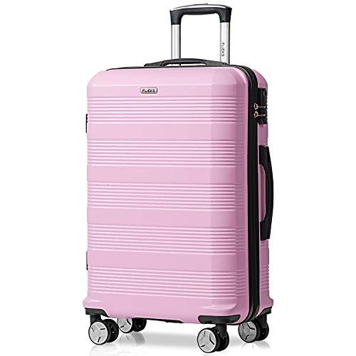 Flieks Reisekoffer Kofferset Hartschale 4 Zwillingsrollen Trolleys Gepäck Koffer 3tlg. (Pink, XL)
