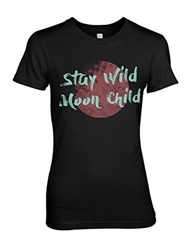 Stay Wild Moon Child Damen T-Shirt Schwarz