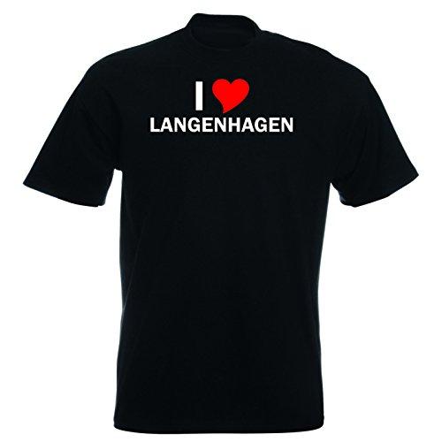 T-Shirt mit Städtenamen - i Love Langenhagen - Herren - unisex Schwarz