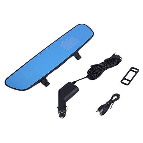 laonBonnie 2,4 '' 120 Grad volle 1280 * 720HD Spiegel DVR Auto Kamera Recorder Dash Cam Videos Rückansicht Blaue Welle Infrarot Nachtsicht-Blau - Sensor Voice Motion Recorder