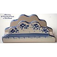 Portatovaglioli Linea Fiori Blu Pezzo Unico Handmade Le Ceramiche del Castello Made in Italy