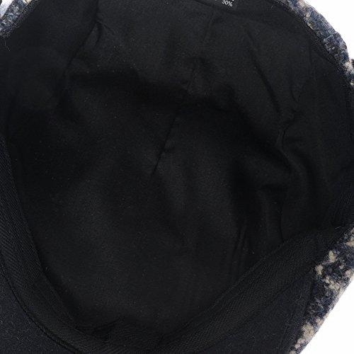 WITHMOONS Béret Casquette Chapeau Wool Felt Lattice Check Pattern Newsboy Hat Flat Cap LD3156 Bleu