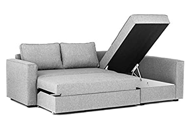 Boston Corner Sofa Bed with Storage in Grey Linen Fabric from Abakus Direct