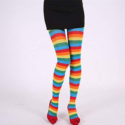 (AmyGline Damen Streifen Strumpfhosen Regenbogen Streifen Over Knee Strümpfe Karneval Kostüme Makeup Tanzparty Cosplay)
