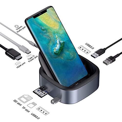 USB C HDMI Hub,Colorful USB-C Smartphone Dock mit 3.5mm Audio Port TF SD Kartenleser USB 3.0 HDMI 8 in 1 Dockingstation für Samsung Galaxy S8 / S8 + / S9 / S9 +, Huawei Mate9 10 P9 P10 P20 Av Dock Station