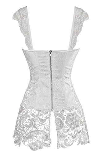 Kimring Women's Steampunk Gothic Faux Leather Bustier Corset with Lace Skirt Bianco
