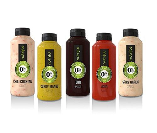 Nutriful Sauce Mix Box 0{6efe4747c966078e311a2017e5bcaad0e40d1e810a959ed2fbaec1c702a78c70} Fett und Zucker (5x 265 ml) NEW Testpacket mit neuen Sorten!