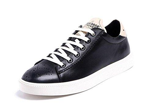 GLSHI Hommes Oxfords Chaussures à lacets Chaussures Chaussures de sport Tendance en cuir Cuir Eté Chaussures respirantes pour hommes Black