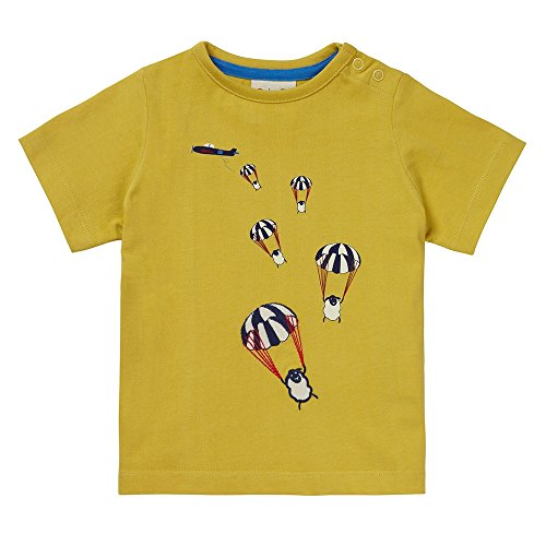 Piccalilly Mustard Yellow Boys T-Shirt Organic Cotton Single Jersey Parachuting Sheep