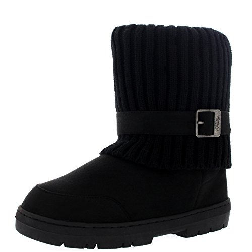 Damen Knitted Cardy Cuff Schnalle Strap Winter Schnee Warm Pelz Gefüttert Stiefel Schwarz Gestrickt