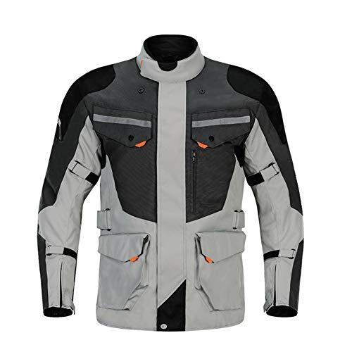 ZXCV Giacca da Moto Autunno Inverno Resistente al Freddo Moto + Protector Pantaloni da Moto Tuta da Moto Abbigliamento da Turismo Set di Protezioni,Grigio,M