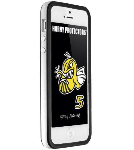 Horny Protectors Cover Case Bumper Schutzhülle für Apple iPhone 5 TPU Silikon lila/schwarz silber - schwarz