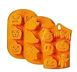 Silikonform für Halloween, Kürbisgesicht, Totenkopf, Geister, handgefertigt, Backen, Gelee-Seife, Zuckerstange, Lebkuchen, Männer, Schokolade, Süßigkeiten, Eiswürfel, 3 Stück