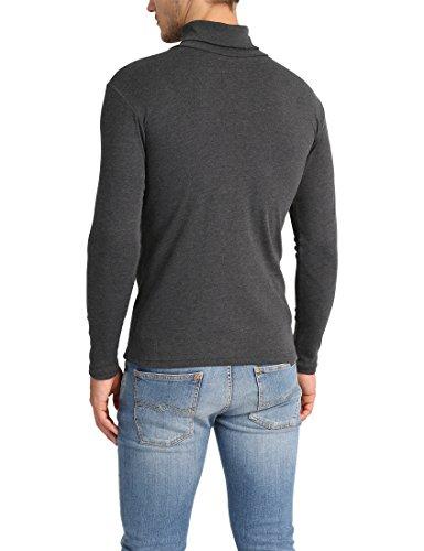 Lower East Herren Slim Fit Rollkragen Shirt Grau (Anthrazit Melange)