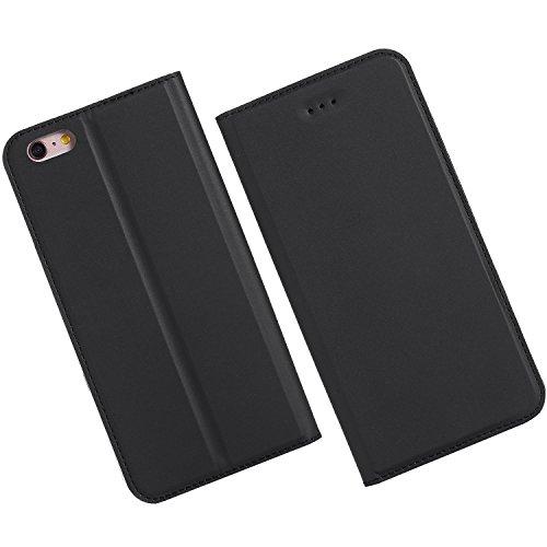 KANTAS Coque PU Cuir pour iPhone 6S iPhone 6 Étui à Rabat Ultra Mince Housse de Etui en Cuir Flip Case pour iPhone 6S/6 Noir Housse Folio avec Fonction Stand Porte-cartes Magnétique PU Leather Couvert Noir