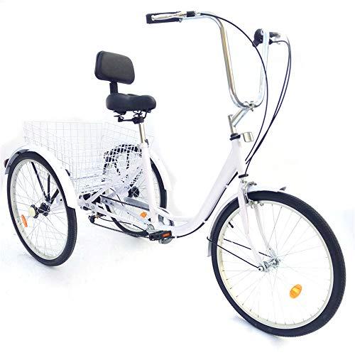 SHIOUCY tricicli Adulti 24' 6 velocità Bicicletta 3 Ruote Adulti con Cestino di acquisto, Trasporto DHL (Bianco)
