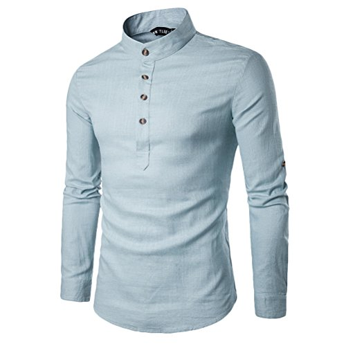 Button-up-shirt (Zhhlinyuan Teenageralter Mens Summer Soft Solid Color Long Sleeve Linen Rolled up Buttons shirt Hemds Size:M-XXL)