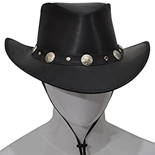AQWA New Western Style Leather Cowboy Hat Bull Stud Bush Conchos Hat Band Chinstrap (Black, Large)