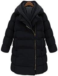 V-SOL Abrigo Traje Chaqueta De Plumas Pumón Para Mujer Lady Largo Con Capucha Polyester (Negro, XXL)