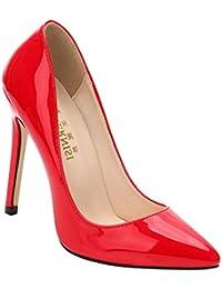 c31a0588529d07 Yudesun Patent Leder Spitz Stöckelschuhe - Frauen Stiletto Gericht Pumps  Einfach Mode Büro Klassisch Bankett Schuhe