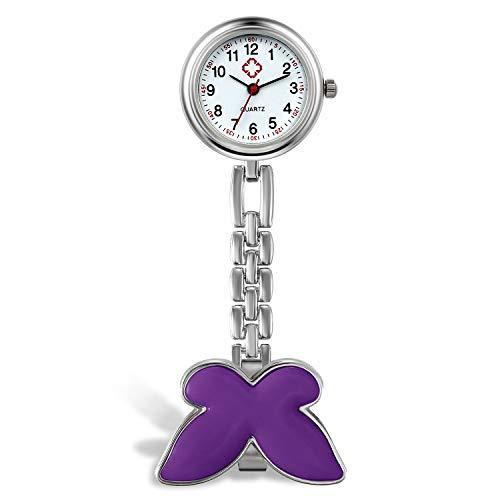Reloj de Bosillo para Enfermera con Broche de Mariposa, Analógico, de Cuarzo, Portátil, Regalo para Doctor Mujer Niña, Avaner