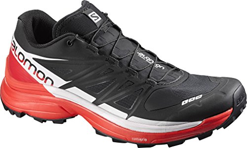 Salomon L39195900, Zapatillas de Senderismo Unisex Adulto, Negro (Black /  Racing Red / White), 45 1/3 EU