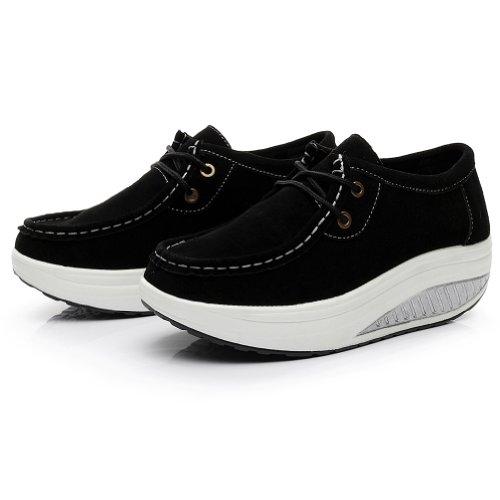 Shenn Chaussures de fitness pour femme en cuir suédé Noir - noir