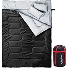 Ohuhu 220x150cm Saco de Dormir Doble Enorme con 2 Almohadas Gratis y una Bolsa de Transporte