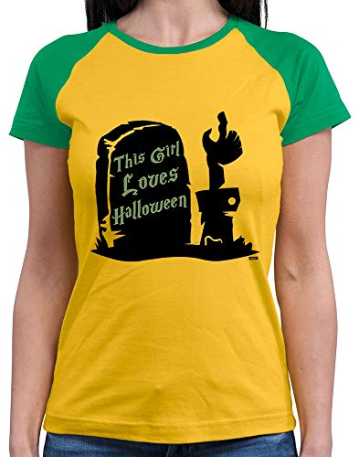 HARIZ  Damen Baseball Shirt This Girl Loves Halloween Halloween Kostüm Horror Karneval Inkl. Geschenk Karte Gold/Kelly Green ()