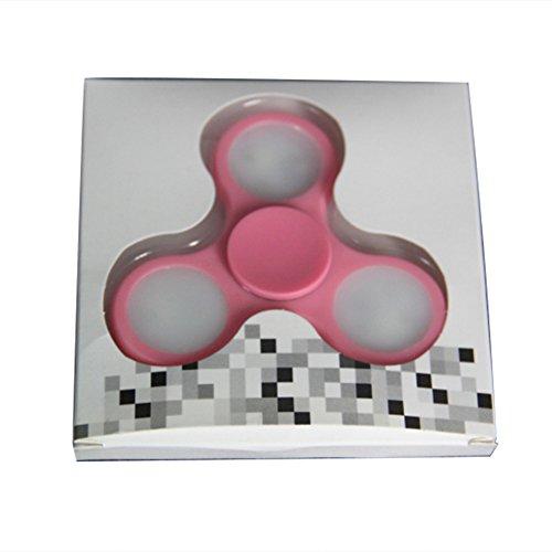 Preisvergleich Produktbild Fidgetkool LED Flash Fidget Hand Spinner Tri Kreisel Spielzeug Plastik Autismus ADHS Stress Linderung Druckverminderng Spielzeug
