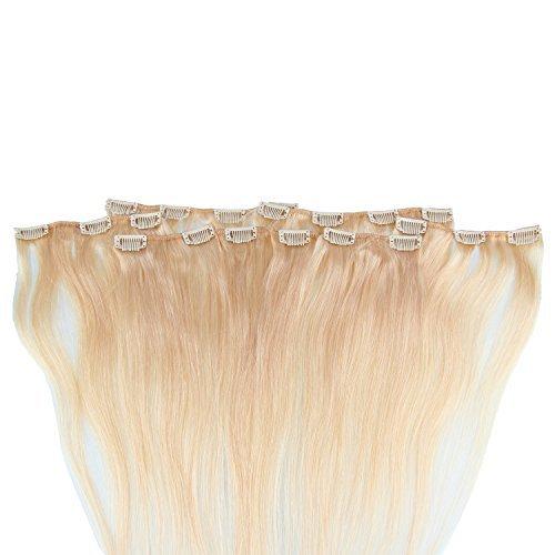 Beauty7 120g Extensions de Cheveux Humains à Clip 100% Remy Hair Haute Qualité #24 Couleur Blonde Clair Longueur 55 cm