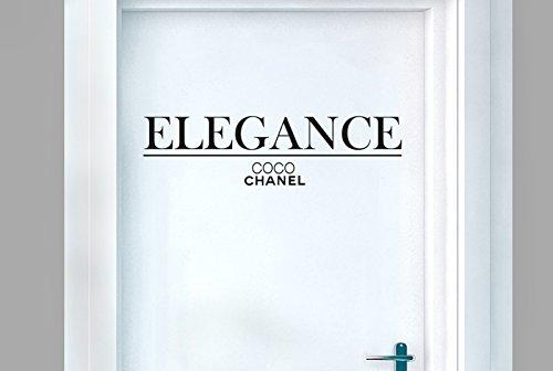 CUT IT OUT CO CO Chanel Eleganz Tür Raum Sticker Art Aufkleber-Schwarz (Höhe 15cm x Breite 40cm)