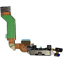 SMARTEX Conector de Carga de Repuesto marca compatible con iPhone 4S Negro – Dock de repeusto con Cable Flex, Altavoz, Antena, Micrófono y Conexión Botón de inicio.
