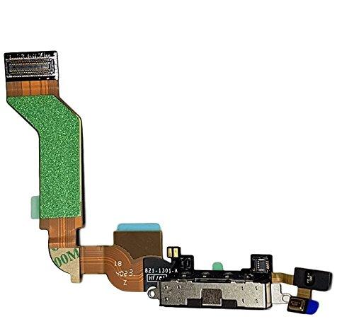 SMARTEX Ladebuchse mit Flex Kabel Kompatibel mit iPhone 4S Schwarz – Dock Connector mit integrierten Mikrofon, Homebutton, Lautsprecher Anschluss