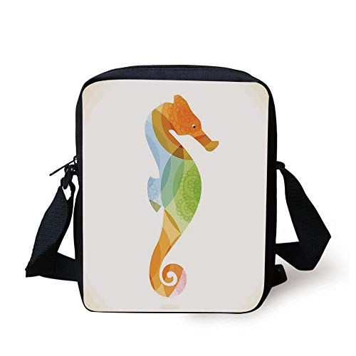 tte of Sea Creature with Coral Reef Patterns Inside Aquarium Icon,Orange Green Print Kids Crossbody Messenger Bag Purse ()