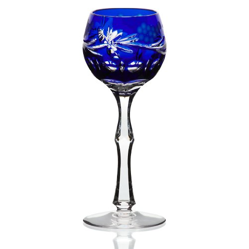 Copa de licor, copa de cristal, azul cobalto, copa para digestivos, co
