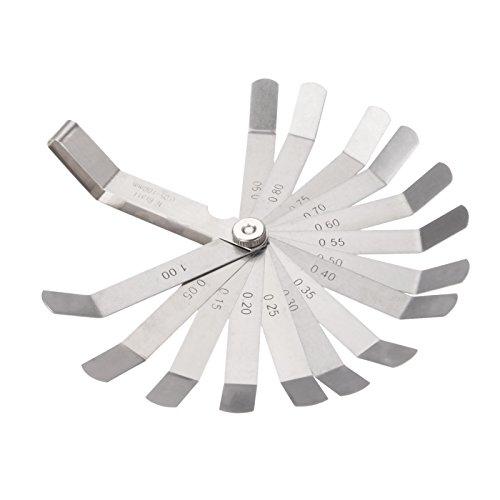 16 Klingen Karbonstahl Fühlerlehre Feeler Gauge Marked Metric und Imperial Gap Messgerät Werkzeug für Messung