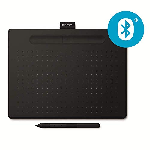 Wacom Intuos M - Tableta gráfica inalámbrica con Bluetooth para pintar, dibujar y editar photos con 3 softwares creativos incluydos para descargar *, compatible con Windows & Mac, negro