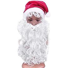 Amosfun 3 Piezas de Sombrero de Papá Noel con Barba y Peluca Fiesta de Navidad Conjunto