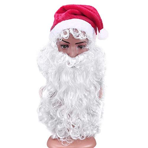 BESTOYARD Santa Perücke und Bart Set mit Weihnachtsmann Mütze Weihnachtsparty Kostüm Set Outfit Zubehör 3tlg (Santa Bärte Claus Und Perücken)