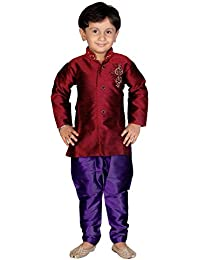 Divinee Maroon Color Art Silk Sherwani Set for Boys with Embroidery Work